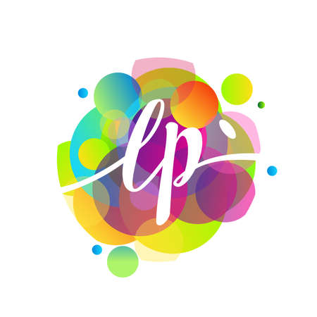 Letter LP logo with colorful splash background, letter combination logo design for creative industry, web, business and company.