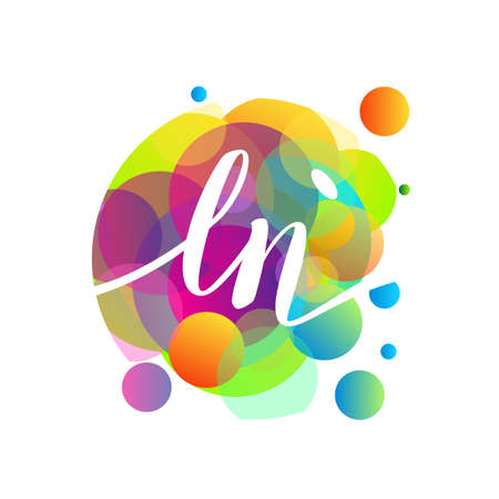 Letter LN   with colorful splash background, letter combination   design for creative industry, web, business and company. Ilustrace