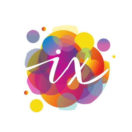 Letter IX with colorful splash background, letter combination design for creative industry, web, business and company.
