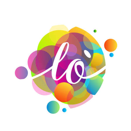 Letter LO   with colorful splash background, letter combination   design for creative industry, web, business and company.