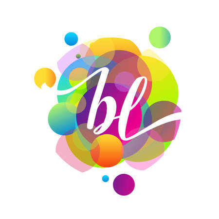 Letter BL logo with colorful splash background, letter combination logo design for creative industry, web, business and company.