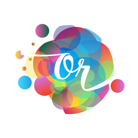 Letter OR   with colorful splash background, letter combination   design for creative industry, web, business and company.