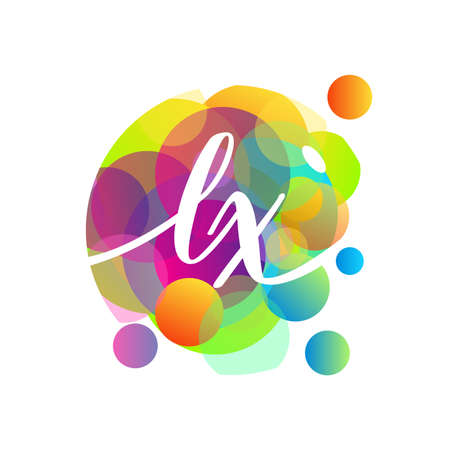 Letter LX   with colorful splash background, letter combination   design for creative industry, web, business and company. Ilustrace
