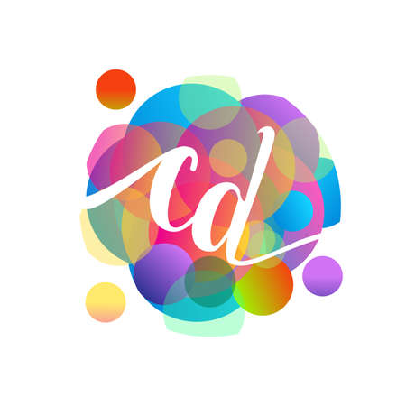 Letter CD with colorful splash background, letter combination design for creative industry, web, business and company.