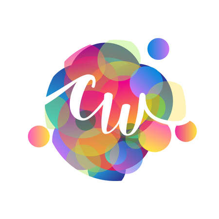 Letter CW   with colorful splash background, letter combination   design for creative industry, web, business and company. Illusztráció
