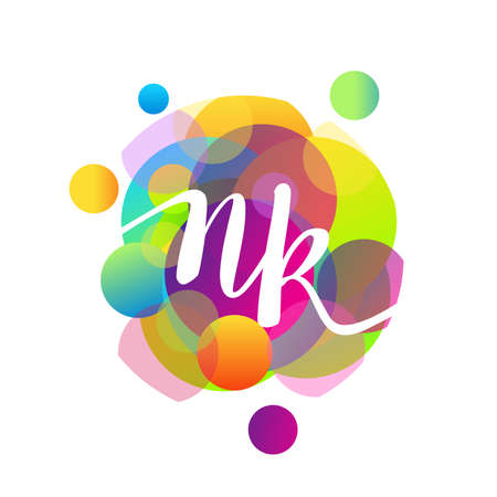 Letter NK logo with colorful splash background, letter combination logo design for creative industry, web, business and company. Logó
