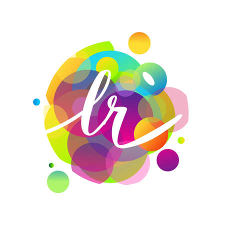 Letter LR logo with colorful splash background, letter combination logo design for creative industry, web, business and company.