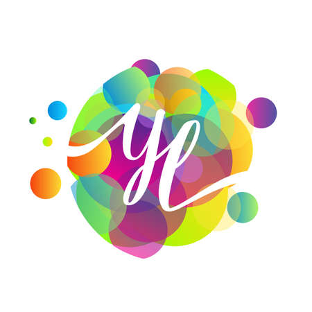 Letter YL logo with colorful splash background, letter combination logo design for creative industry, web, business and company.