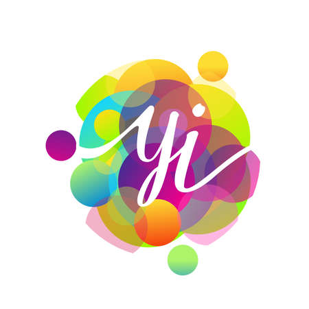 Letter YI logo with colorful splash background, letter combination logo design for creative industry, web, business and company.