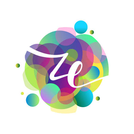 Letter ZE logo with colorful splash background, letter combination logo design for creative industry, web, business and company.