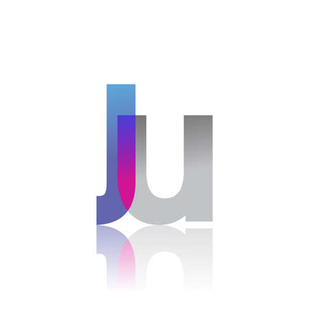 Initial Letter JU Lowercase overlap Logo Blue, pink and grey, Modern and Simple Logo Design. 向量圖像