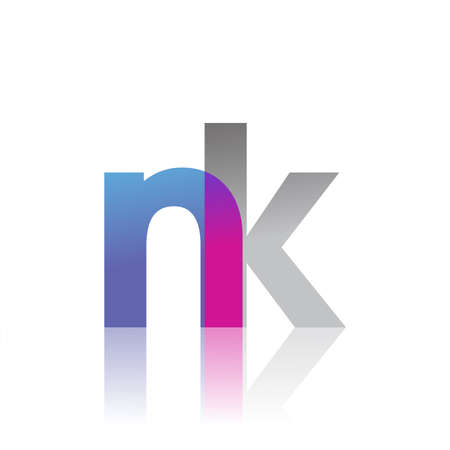 Initial Letter NK Lowercase overlap Logo Blue, pink and grey, Modern and Simple Logo Design.