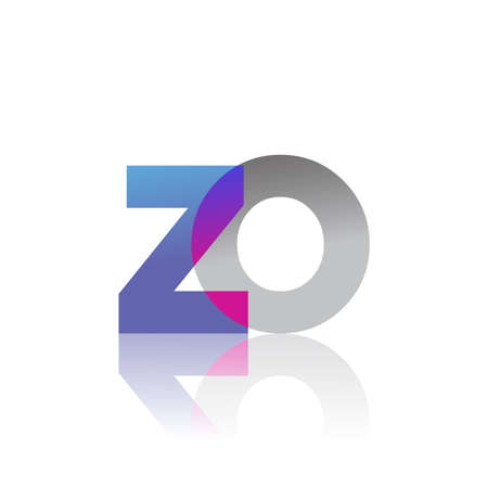 Initial Letter ZO Lowercase overlap Logo Blue, pink and grey, Modern and Simple Logo Design.