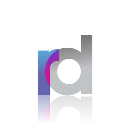 Initial Letter RD Lowercase overlap Logo Blue, pink and grey, Modern and Simple Logo Design.