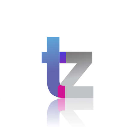 Initial Letter TZ Lowercase overlap Logo Blue, pink and grey, Modern and Simple Logo Design. Logó