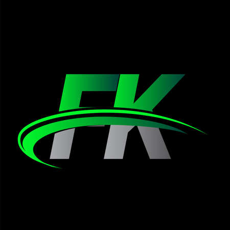 initial letter FK logotype company name colored green and black swoosh design. vector logo for business and company identity.