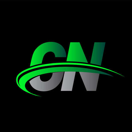 initial letter GN logotype company name colored green and black swoosh design. vector logo for business and company identity.