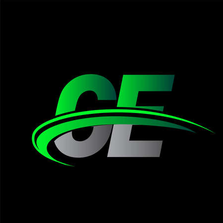 initial letter GE logotype company name colored green and black swoosh design. vector logo for business and company identity.