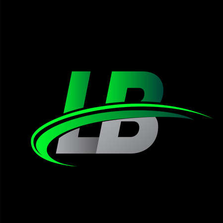 initial letter LB logotype company name colored green and black swoosh design. vector logo for business and company identity.