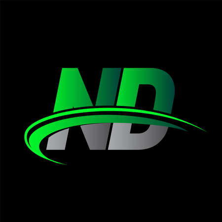 initial letter ND logotype company name colored green and black swoosh design. vector logo for business and company identity.