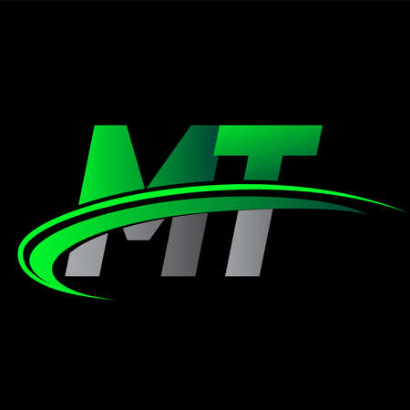 initial letter MT logotype company name colored green and black swoosh design. vector logo for business and company identity.
