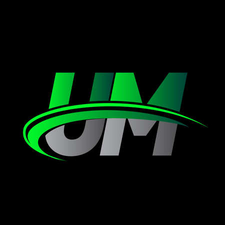 initial letter UM logotype company name colored green and black swoosh design. vector logo for business and company identity.