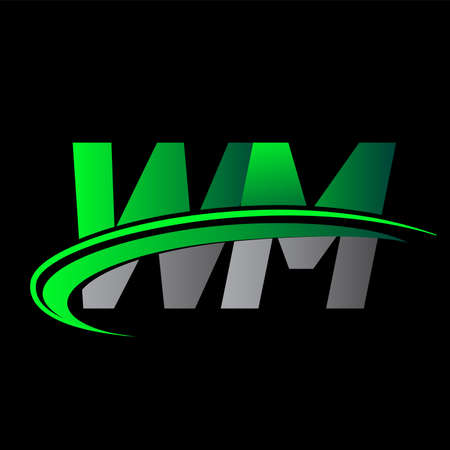 initial letter WM logotype company name colored green and black swoosh design. vector logo for business and company identity.
