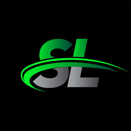 initial letter SL logotype company name colored green and black swoosh design. vector logo for business and company identity.