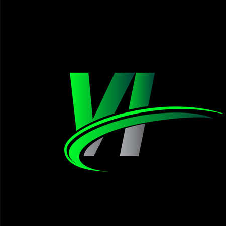 initial letter VI logotype company name colored green and black swoosh design. vector logo for business and company identity. Logó