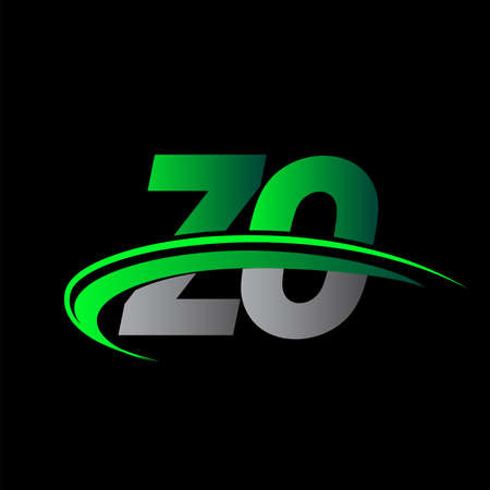 initial letter ZO logotype company name colored green and black swoosh design. vector logo for business and company identity.