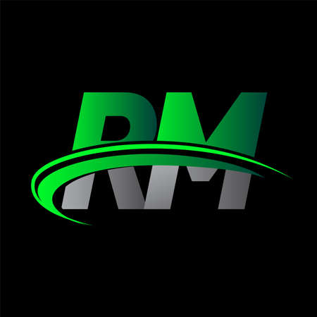 initial letter RM logotype company name colored green and black swoosh design. vector logo for business and company identity. Logó