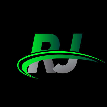 initial letter RJ logotype company name colored green and black swoosh design. vector logo for business and company identity.