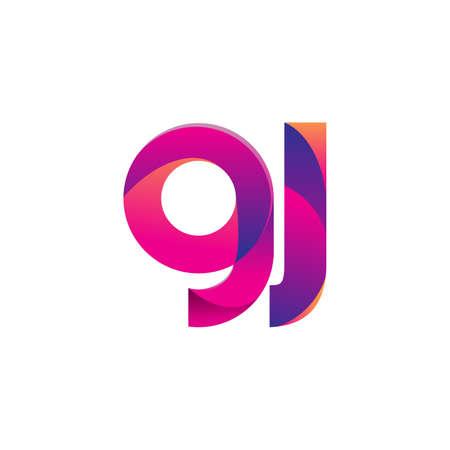 Initial Letter GJ Logo Lowercase, magenta and orange, Modern and Simple Logo Design.