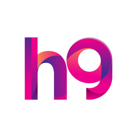 Initial Letter HG Lowercase, magenta and orange, Modern and Simple   Design. 向量圖像