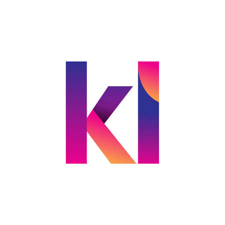 Initial Letter KL Logo Lowercase, magenta and orange, Modern and Simple Logo Design. Ilustrace