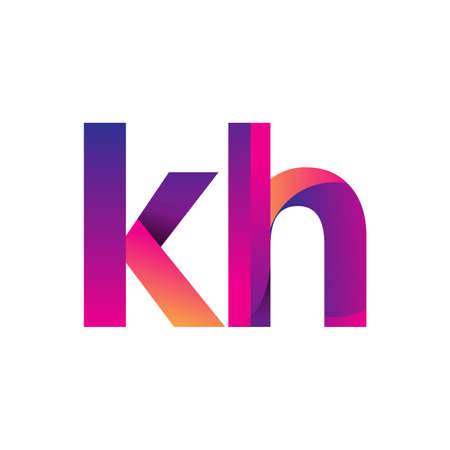 Initial Letter KH Logo Lowercase, magenta and orange, Modern and Simple Logo Design. Ilustrace