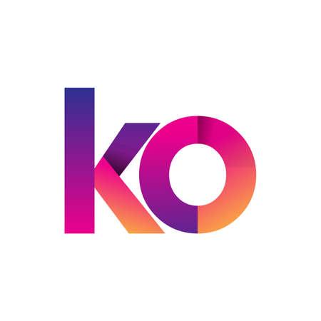 Initial Letter KO Logo Lowercase, magenta and orange, Modern and Simple Logo Design.