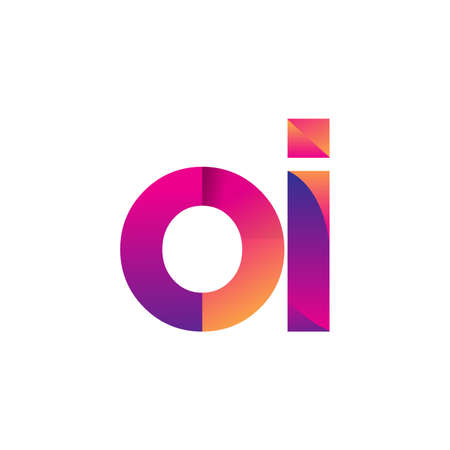Initial Letter OI Logo Lowercase, magenta and orange, Modern and Simple Logo Design.