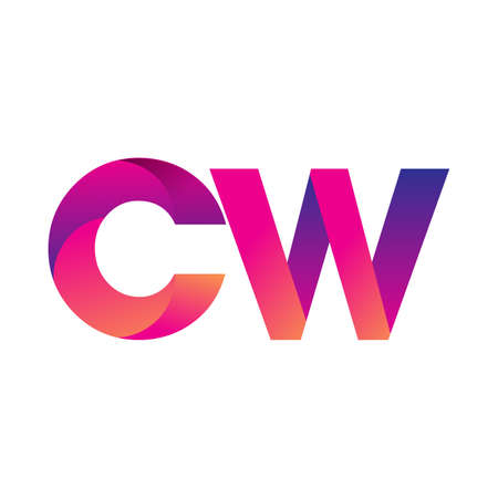 Initial Letter CW Logo Lowercase, magenta and orange, Modern and Simple Logo Design.