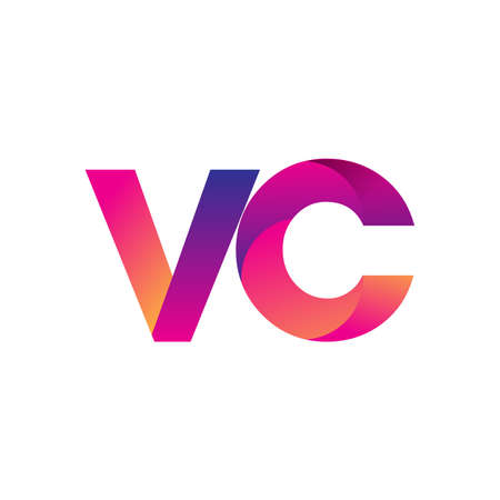 Initial Letter VC Logo Lowercase, magenta and orange, Modern and Simple Logo Design.