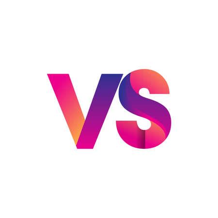 Initial Letter VS Logo Lowercase, magenta and orange, Modern and Simple Logo Design.