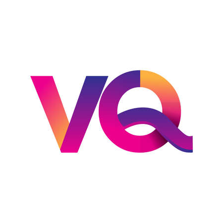 Initial Letter VQ Logo Lowercase, magenta and orange, Modern and Simple Logo Design.