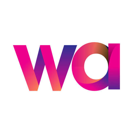 Initial Letter WA Logo Lowercase, magenta and orange, Modern and Simple Logo Design.