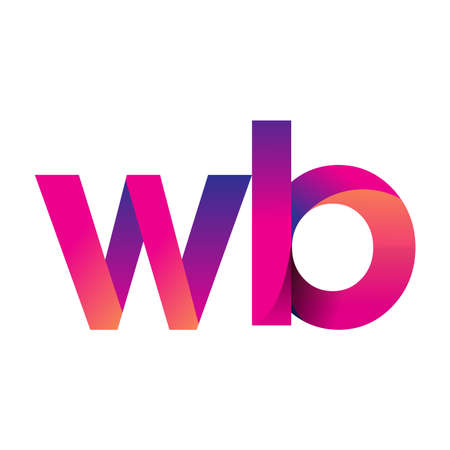 Initial Letter WB Logo Lowercase, magenta and orange, Modern and Simple Logo Design.