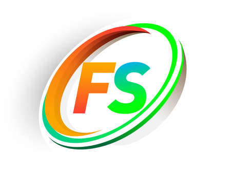 initial letter FS logotype company name colored orange and green circle and swoosh design, modern logo concept. vector logo for business and company identity.