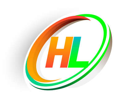 initial letter HL logotype company name colored orange and green circle and swoosh design, modern logo concept. vector logo for business and company identity.