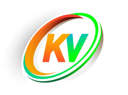 initial letter KV logotype company name colored orange and green circle and swoosh design, modern logo concept. vector logo for business and company identity.