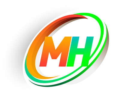 initial letter MH logotype company name colored orange and green circle and swoosh design, modern logo concept. vector logo for business and company identity.