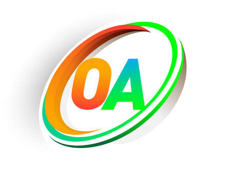 initial letter OA logotype company name colored orange and green circle and swoosh design, modern logo concept. vector logo for business and company identity.