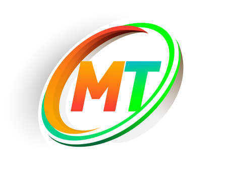 initial letter MT logotype company name colored orange and green circle and swoosh design, modern logo concept. vector logo for business and company identity.